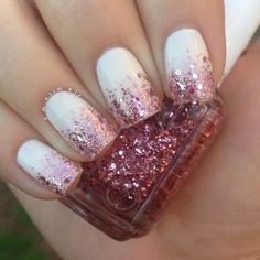 """When in doubt, glitter it out? Idk but it's #manimonday My base color is #nopi """"Others Pale by Kim-parison"""" and I topped it off with a gradient using Essie """"A Cut Above""""  by melimelr..."""