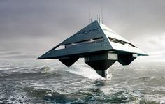 Schwinge Tetrahedron - flying pyramid superyacht