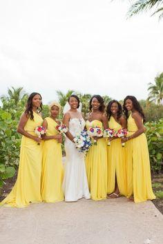 Beautiful Blue and Yellow Wedding on Paradise Island, Bahamas: Dantia + Cliff