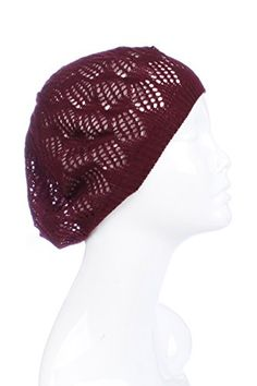 d0e85fdcdb8 AN Womens Lightweight Cut Out Knit Beanie Beret Cap Crochet Hat - Many  Styles at Amazon Women s Clothing store  Best Winter ...