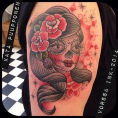 https://www.facebook.com/VorssaInk, http://tattoosbykata.blogspot.fi, #tattoo #tatuointi #katapuupponen #vorssaink #forssa #finland #traditionaltattoo #suomi #oldschool #pin up #muerte
