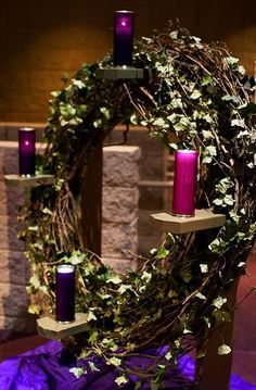 advent wreath - Bing Images Placing the Advent wreath and pillars vertical so the congregation can really see! Church Christmas Decorations, Altar Decorations, Altar Design, Church Stage Design, Advent Candles, Church Flowers, Church Banners, Advent Wreaths, Bing Images