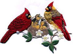 Birds ~ Cardinals W/Nest Embroidered Iron On Applique