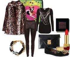 Leopard print coat and lizard leather leggings
