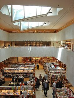 Akateeminen Kirjakauppa // Alvar Aalto // Helsinki, Finland.  One of my all time favorite interiors with (2) of the most intriguing skylights. What a wonderful place to browse through print!