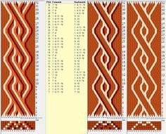 16 tarjetas, 4 / 3 / 2 colores, repite cada 8 movimientos // sed_304 diseñado en GTT༺❁ Inkle Weaving, Inkle Loom, Card Weaving, Tablet Weaving Patterns, How To Make Rope, Weaving Projects, Card Patterns, Weaving Techniques, Fabric Manipulation