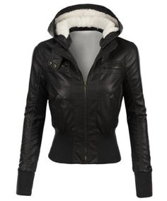 Stylish Hooded Long Sleeve Slimming Faux Leather Women's JacketJackets | RoseGal.com