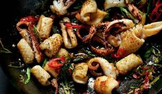 Stir-fried Salt and Pepper Squid with Red Chilli and Spring Onion - The Happy Foodie Squid Recipes, Fish Recipes, Seafood Recipes, Octopus Recipes, Calamari Recipes, Hawaiian Recipes, Asian Recipes, Vegetarian Recipes, Cooking Recipes