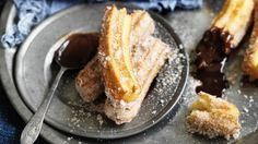 Spanish churros donuts are delicious served with melted white or dark chocolate. Try Neil Perry's take on the crunchy fried classic. Italian Recipes, Mexican Food Recipes, Sweet Recipes, Mexican Meals, Churros, Spanish Tapas, Spanish Style, Spanish Food, Good Food