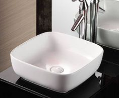 clickbasin Small Square Countertop White Ceramic Bathroom Sink 370mm x 380mm FIRENZE