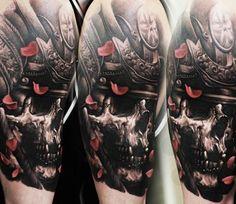 Samurai Skull tattoo by Denis Sivak