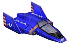 """""""The Blue Falcon,"""" Captain Falcon's racing ship from the F-Zero series of games. This first appeared in the series' debut game which launched along with the Super Nintendo Entertainment System in 1990 / 1991."""