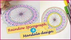 Rainbow Spirograph with Mandala design step by step Spirograph Art, Mandala Artwork, Mandala Design, Tool Design, Rainbow, Make It Yourself, Drawings, Manualidades, Rain Bow