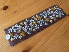 Brown Felt Hand Embroidered Cuff Bracelet by sweetheartsandroses