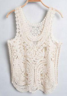 Light Apricot Lace Embroidery Sleeveless Cotton T-Shirt