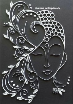 Buddha frame made in Quilling Paper Quilling For Beginners, Paper Quilling Tutorial, Paper Quilling Flowers, Paper Quilling Cards, Quilling Work, Paper Quilling Jewelry, Paper Quilling Patterns, Origami And Quilling, Quilled Paper Art