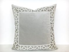 Grey Velvet Pillow Cover with Geometric by ThereseMarieDesigns