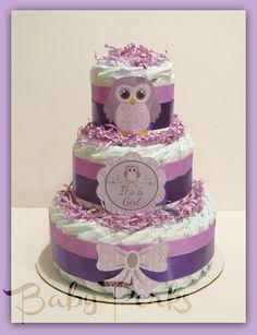Pastel de pañales búho púrpura Owl Baby Shower ducha de por MsPerks