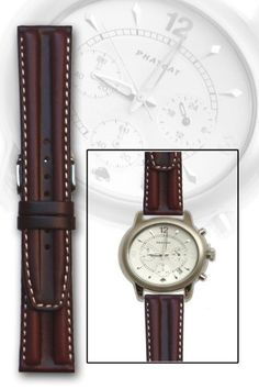 Brown Double-hump Oil-tanned Calfskin Leather Watch Band 22mm | Pebble Watch Bands
