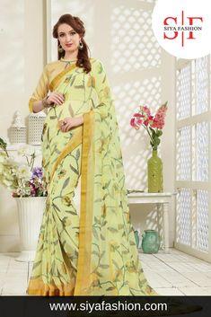 19b8ddd9b Siya  Fashion  Partywear  Designer Yellow  Brasso  Printed  Saree. Saree  Fabric  - Brasso Saree Color  - Yellow Blouse Fabric  - Banglori Blouse  Color .