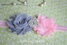 Baby Pink & Gray Double Shabby Chic Chiffon Flower Headband - Baby Girl, Newborn, Infant, Toddler, Child, Teen, Adult by PurpleFairyCreations