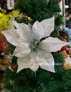 Sweet Home Deco 9''W Silk Shinning Sprakled Poinsettia Artificial Flower Heads (Set of 5) Christmas Decorations (Silver) * Click on the image for additional details.