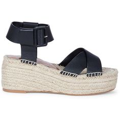 Sole Society Audrina Flatform Espadrille ($75) ❤ liked on Polyvore featuring shoes, sandals, black, summer sandals, ankle tie sandals, espadrille sandals, black sandals and black flatform sandals