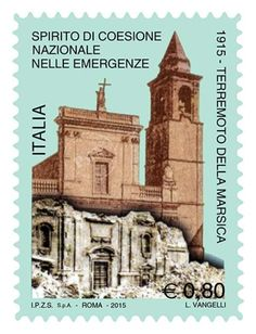 2015 - 100 anni dal terremoto della Marsica - francobollo commemorativo - Chiesa di san Bartolomeo di Avezzano