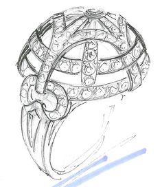 FInal sketch for the Hearts On Fire Copley Dome Ring - so impressive! Love this intricate diamond ring! #CopleyCollection | heartsonfire.com