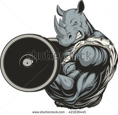 Vector illustration of a ferocious rhino raises the barbell on biceps
