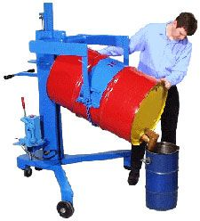 "Drum Palletizer that Pours w/ AC Power Lift. The V-Shaped base of this drum mover allows you to lift an upright drum up to 26"" high and place a drum at the corner of pallets. You can rotate a drum 360 degrees end-over-end, then manually tilt drum to pour. It handles a 22.5"" diameter 55-gallon steel drum and accepts Diameter Adaptors for various smaller drums."