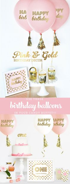 Pink and Gold Birthday Decorations Pink and Gold First Birthday Party Decor 1st Birthday Girl Ideas Balloons Kit (EB3110BIR) - set of 3