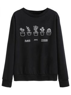 Sweatshirt mit Hosen Druck - schwarz