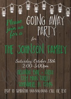 Fun U0026 Rustic PRINTABLE Or PRINTED Mason Jar Going Away Party Invitations. Farewell  Invite. Wood Invites. Pictured In Green And White