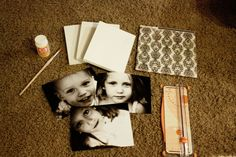 Mod Podge Photos {On Canvas} -- What you need: Pre-stretched canvas, paper cutter or scissors, cute pre-cut paper to fit the sides of your canvas, cute photo(s), two paint brushes or sponge brushes, wax paper, Modge Podge in Matte, towel, acrylic/craft paint.