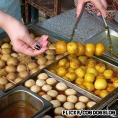 Fishballs-sold by street vendors