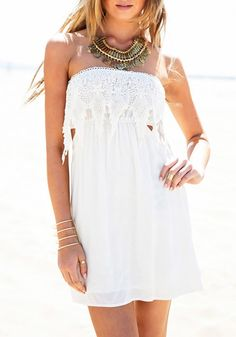 c3c2417ffe5a Sexy Strapless Sleeveless Laciness Spliced Hollow Out Women s Dress