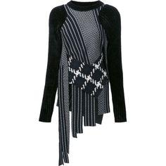 3.1 Phillip Lim fringed check jumper (1,274 CAD) ❤ liked on Polyvore featuring tops, sweaters, black, 3.1 phillip lim, round neck sweater, checkered sweater, fringe sweaters and long sleeve tops