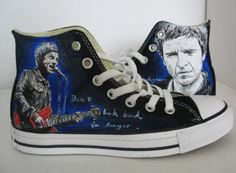 Oasis/Noel Gallagher shoes Hand-painted on converse all star  Shoes sneaker. $89.99, via Etsy. 16 year old me would be ALL over these.