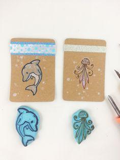 geschnitze Stempel Delfin und Qualle Scrapbooking scrapbook handgemachter Stempel Meer Wasser Fisch von Nesalis auf Etsy