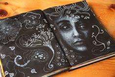 Babette Duinkerken | Art Journal mixed media Wit op zwart