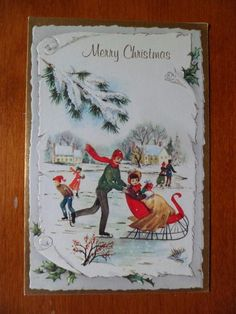 Vtg Christmas Greeting Card~Victorian Man Lady Children Sled Skating Embossed