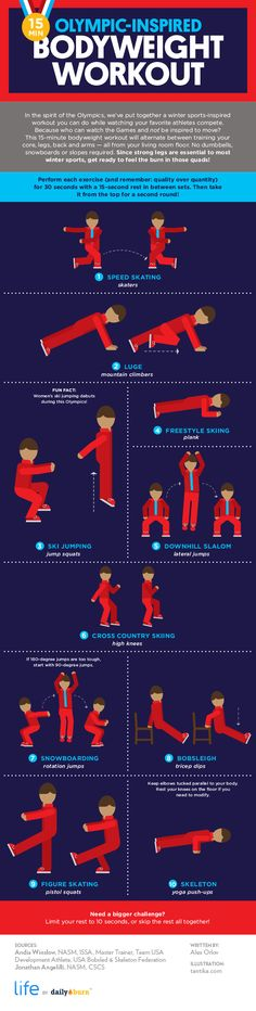 Get in on the 2018 Winter Olympics action with this bodyweight workout inspired by your favorite winter sports. These 10 no-equipment exercises will build strength, speed and stamina — all while having fun. Infographic by Daily Burn. Fitness Tips, Fitness Motivation, Health Fitness, Physical Education, Physical Activities, Easy Workouts, At Home Workouts, Lose Thigh Fat Fast, Daily Burn