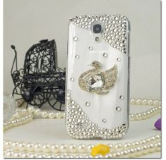 For Samsung Galaxy S4 i9500 - 3D Design Full Diamond Protectors - Silver Peacock FPD3D Case Cover Protector