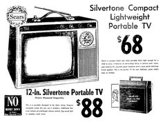 Vintage Tv Ads, Vintage Advertisements, Televisions, Tvs, Portable Tv, Box Tv, Old Ads, The Good Old Days, Travel Posters