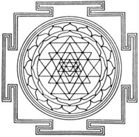 A diagramic drawing of the Sri Yantra, showing the outside square, with four T shaped gates, and the central circle.