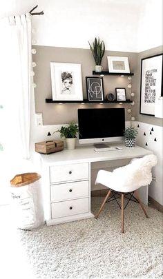 Bedroom Decor For Teen Girls, Room Ideas Bedroom, Small Bedroom Ideas For Women, Ikea Bedroom, Bedroom Ideas For Couples, Girl Bedroom Designs, Teen Room Decor, White Desk Bedroom, Bedroom Furniture