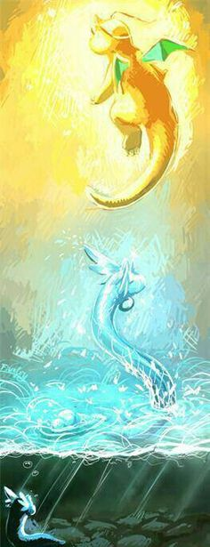 Pokemon dratini dragonair dragonite art