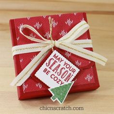12 Days of Christmas 2016 Day 7  The Stitched with Cheer Ghirardelli Treat Holder is my 7th project for the 12 Days of Christmas. To make this bag I used a 8 x 4-1/2 piece of Cherry Cobbler Card Stock