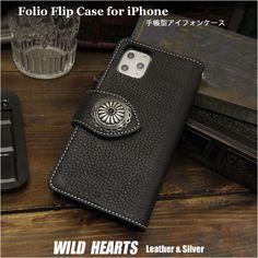 良質の柔らかい牛革を使用していますので革の心地いい手触りで、使えば使うほど光沢、味わいが増して行きます。手帳型レザーケース アイフォン ブラック/黒 本革/牛革 WILD HEARTS Leather&Silver(ID ip2866r93) Iphone Flip Case, Iphone Cases, Wallet, Leather, Handmade, Design, Style, Swag, Hand Made